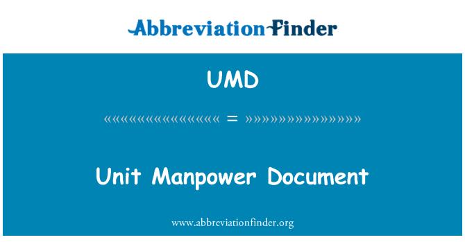 UMD: Unit Manpower Document