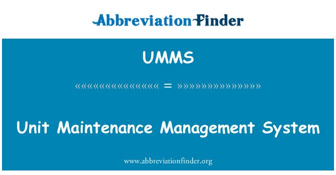 UMMS: Unit Maintenance Management System