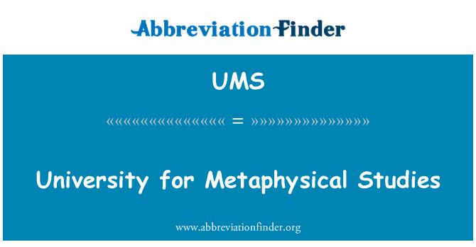 UMS: University for Metaphysical Studies