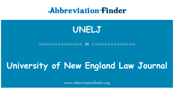 UNELJ: University of New England Law Journal