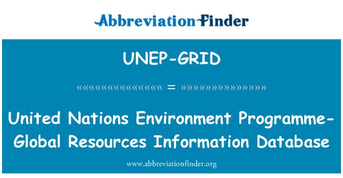 UNEP-GRID: Ujedinjenih naroda okruženje programa-globalne resurse informacija baza podataka