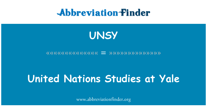 UNSY: United Nations Studies at Yale