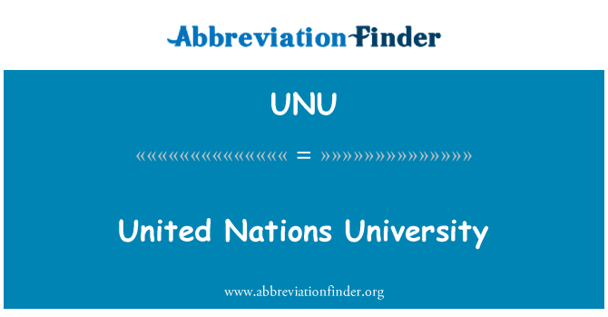 UNU: United Nations University