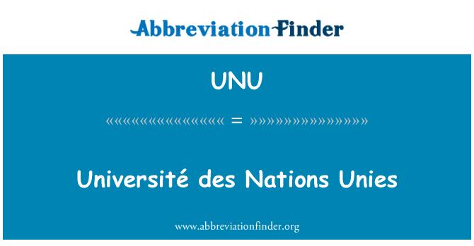 UNU: Université des Nations Unies