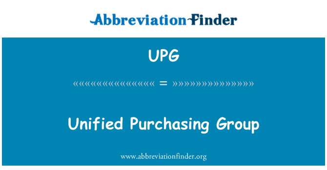 UPG: Unified Purchasing Group