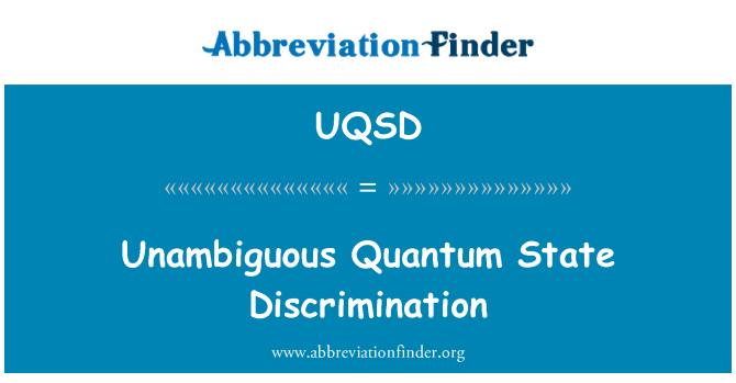 UQSD: Unambiguous Quantum State Discrimination