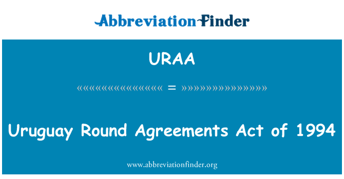 URAA: Uruguay Round Agreements Act of 1994