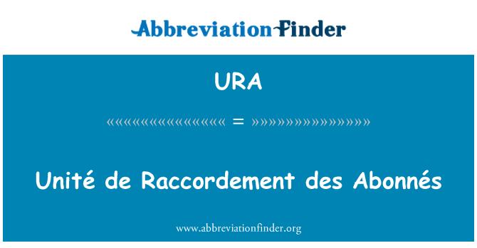 URA: Unité de Raccordement des Abonnés
