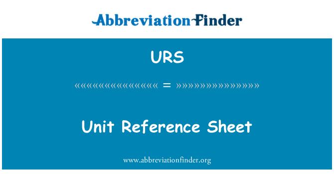 URS: Unit Reference Sheet