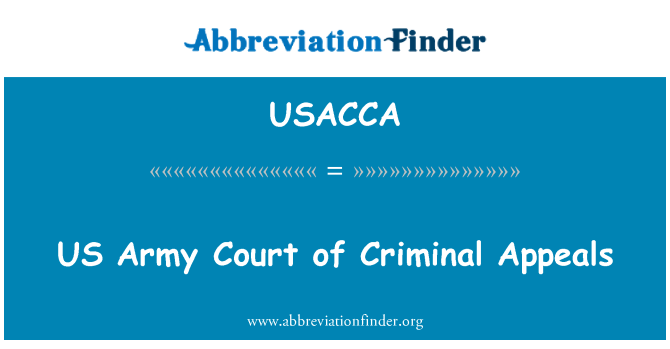 USACCA: US Army Court of Criminal Appeals