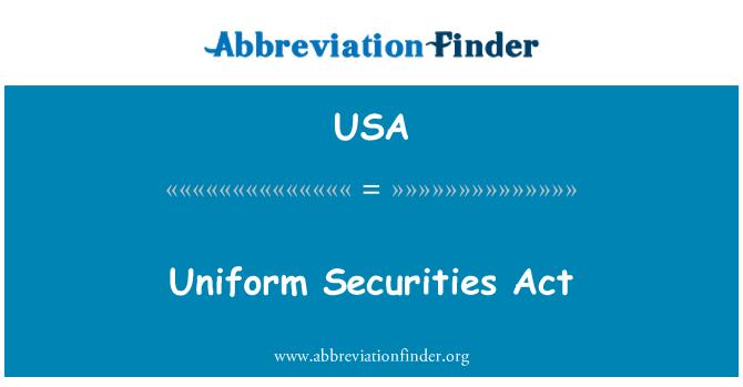USA: 统一证券法