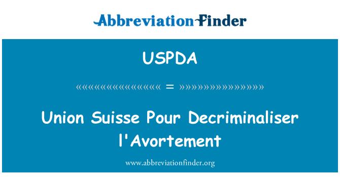 USPDA: L'Avortement Union Suisse Pour Decriminaliser
