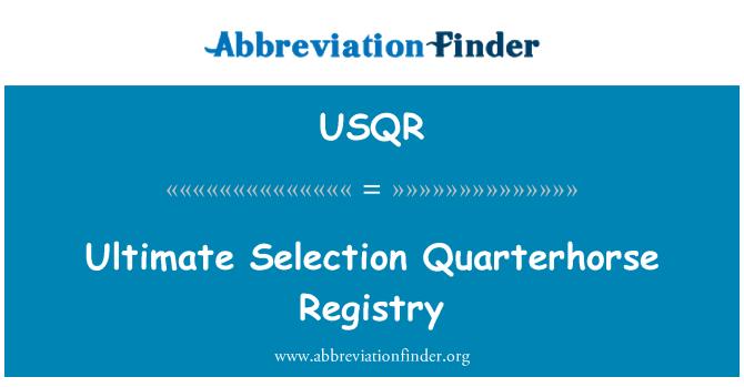 USQR: Ultimate Selection Quarterhorse Registry
