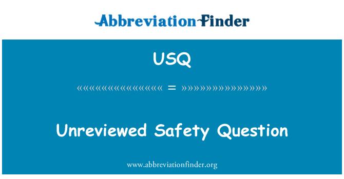 USQ: 审阅的安全问题