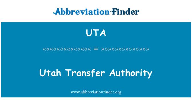 UTA: Utah transferencia de autoridad