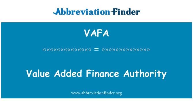 VAFA: Value Added Finance Authority