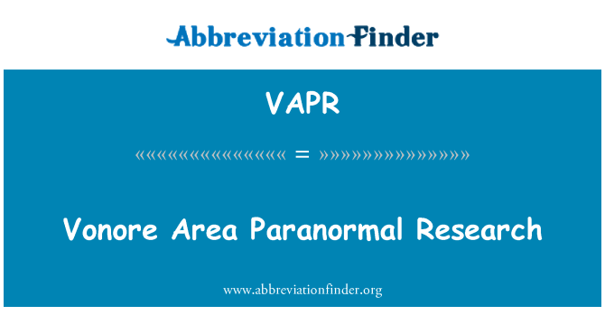 VAPR: Vonore ala Paranormaalne Teadus