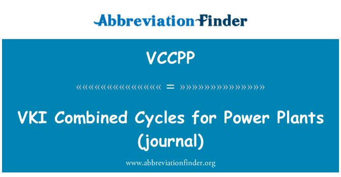 VCCPP: VKI   Combined Cycles for Power Plants (journal)