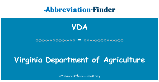 VDA: Virginia Department of Agriculture