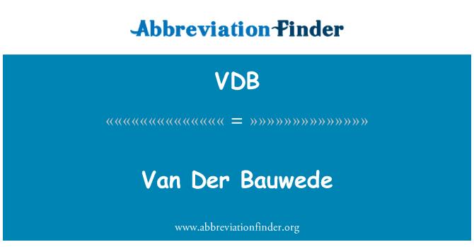 VDB: वान डेर Bauwede