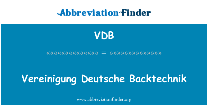 VDB: 以下德意志 Backtechnik