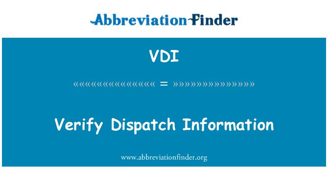 VDI: 验证调度信息
