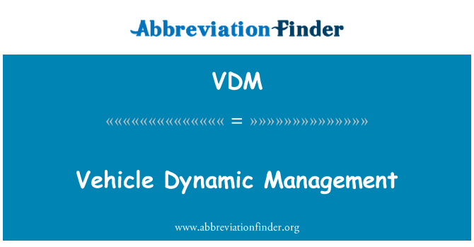 VDM: Vehicle Dynamic Management