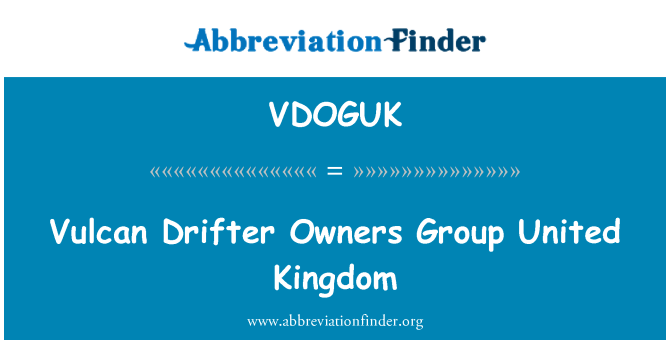 VDOGUK: Vulcan Drifter Owners Group United Kingdom