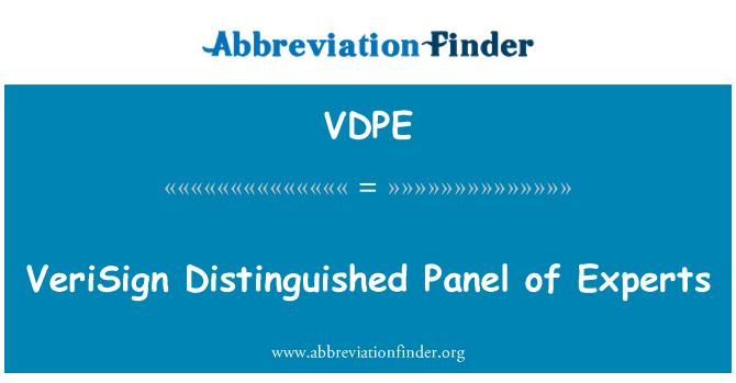 VDPE: VeriSign Distinguished Panel of Experts