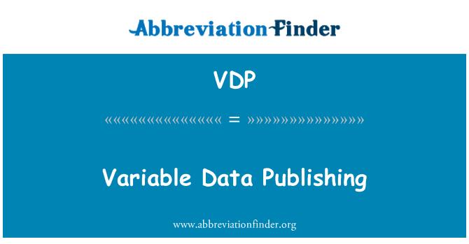 VDP: Variable Data Publishing