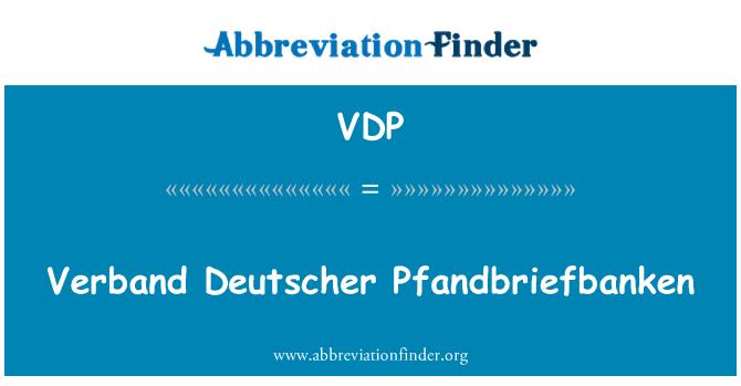 VDP: Verband Deutscher Pfandbriefbanken