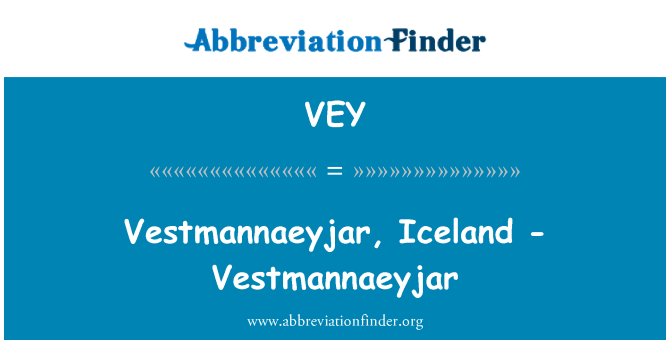 VEY: 冰岛韦斯特曼纳-韦斯特