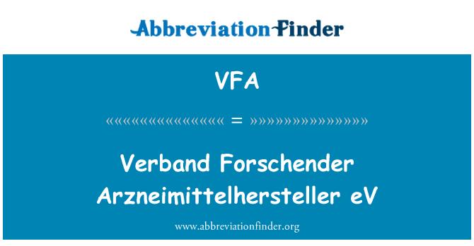 VFA: Verband Forschender Arzneimittelhersteller eV