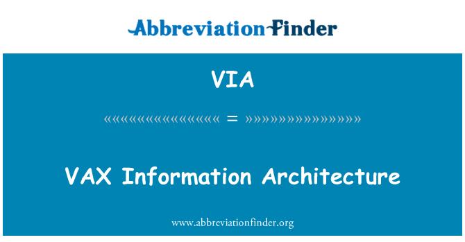 VIA: VAX Information Architecture