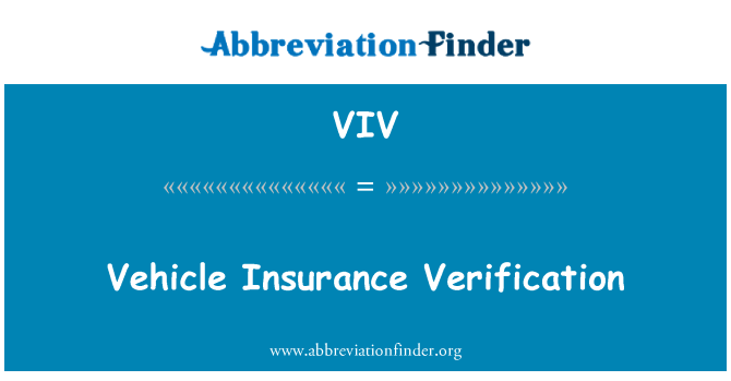 VIV: Vehicle Insurance Verification