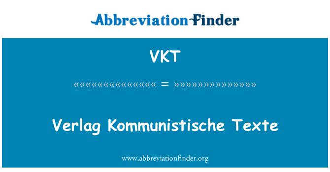 VKT: Verlag Kommunistische Texte