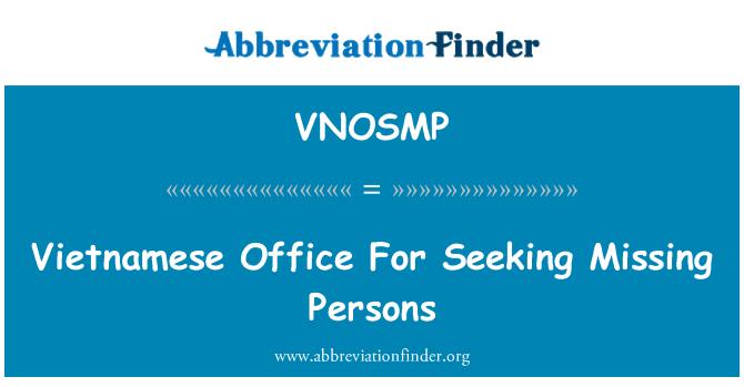 VNOSMP: Vietnamese Office For Seeking Missing Persons