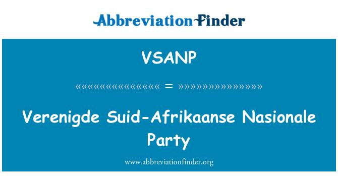 VSANP: Jungtinės Amerikos Suid-Afrikaanse Nasionale šalis