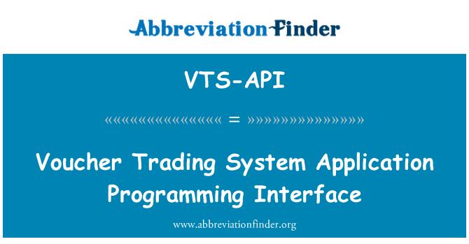 VTS-API: Voucher Trading System Application Programming Interface