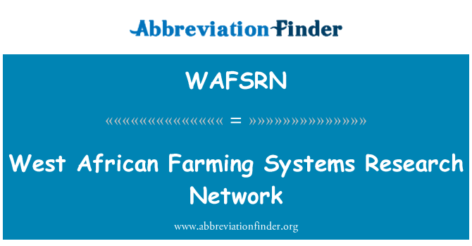 WAFSRN: West African Farming Systems Research Network