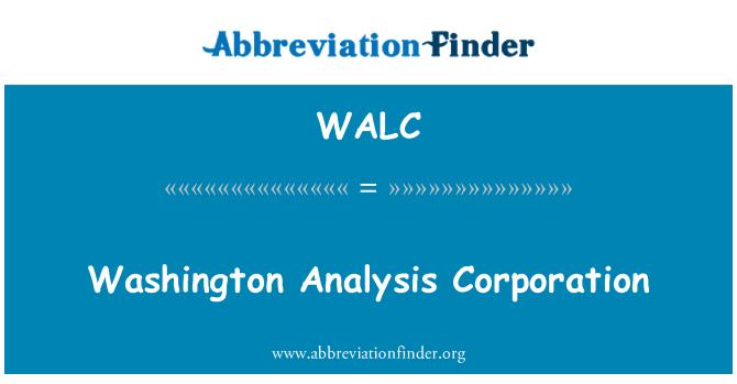 WALC: Washington análisis Corporation