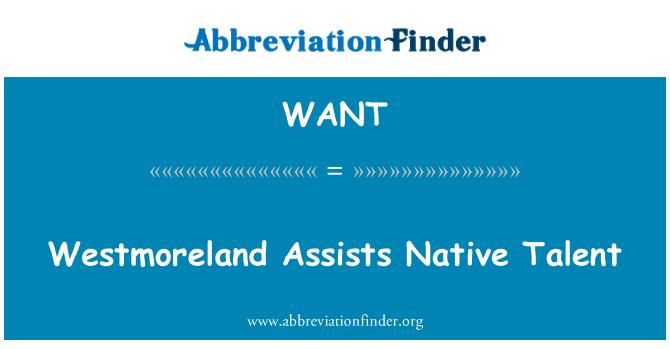 WANT: Westmoreland asiste a talento nativo