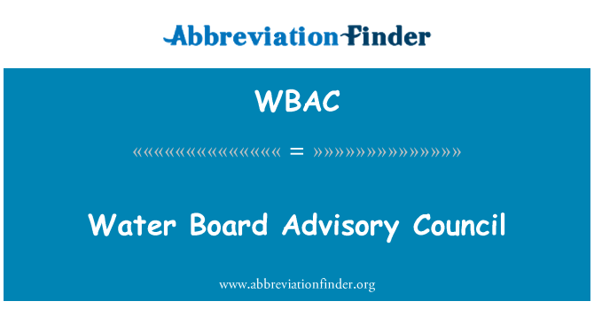 WBAC: Consejo Consultivo de la Junta de agua