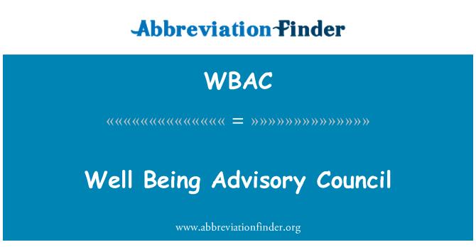 WBAC: Consejo Asesor de bienestar