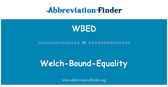 WBED: Welch-limite-igualdad