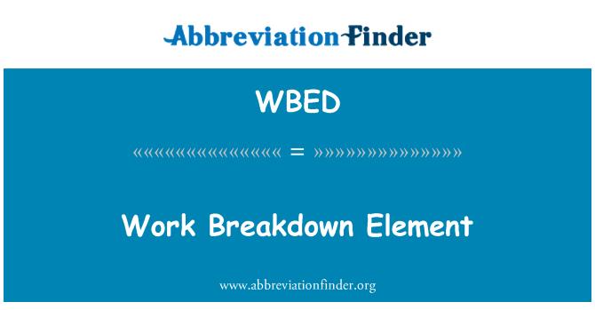 WBED: Elemento de desglose de trabajo