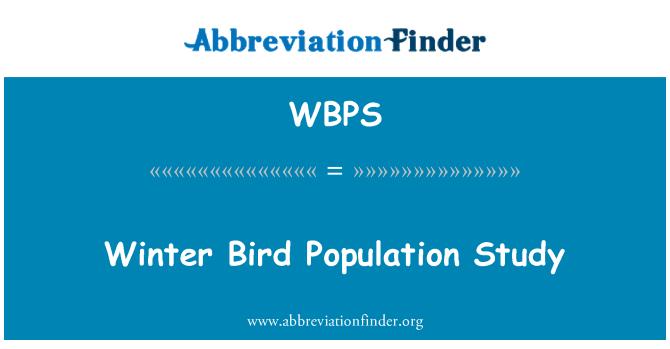 WBPS: Winter Bird Population Study