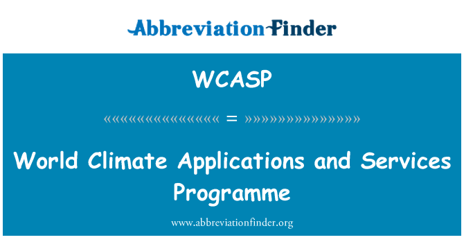 WCASP: World Climate Applications and Services Programme