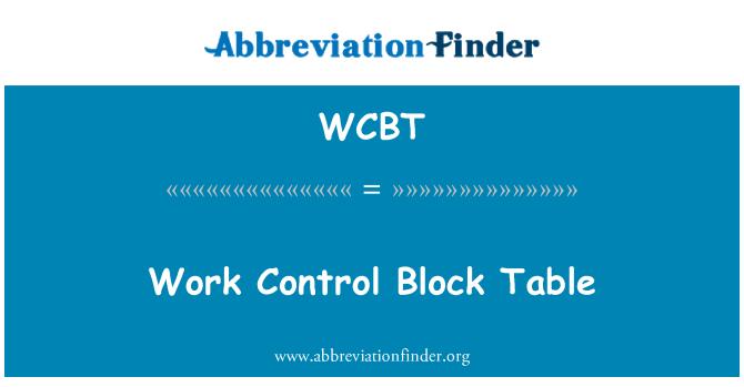 WCBT: Tabla de bloque de Control de obra