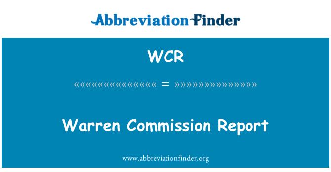 WCR: Warren Commission Report